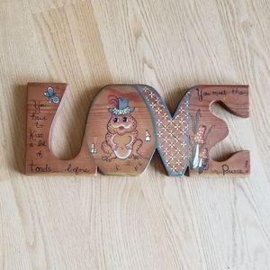 Vintage Wooden Painted Love Sign Wall Art Nursery
